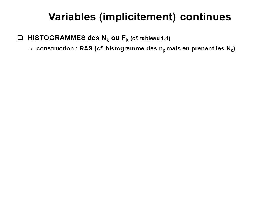 Variables (implicitement) continues  HISTOGRAMMES des N k ou F k (cf.