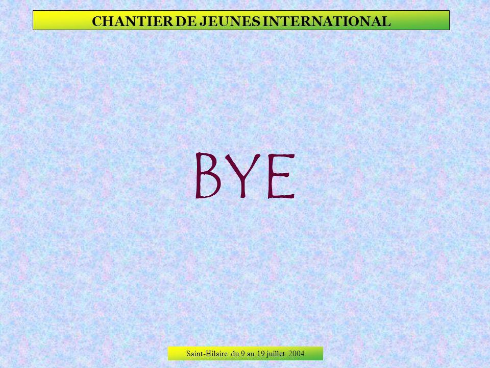 Saint-Hilaire du 9 au 19 juillet 2004 CHANTIER DE JEUNES INTERNATIONAL La sympathie dun chantier et dun groupe !