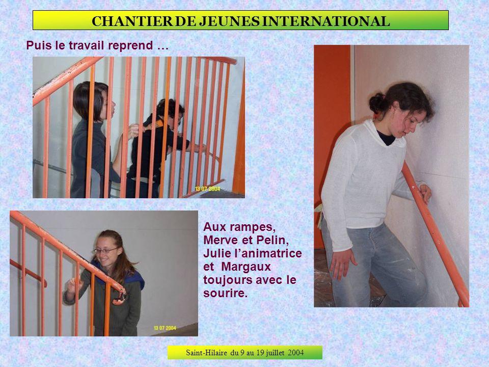Saint-Hilaire du 9 au 19 juillet 2004 CHANTIER DE JEUNES INTERNATIONAL Le deuxième jour il faut refaire une porte ratée la veille. Tout le monde sy me