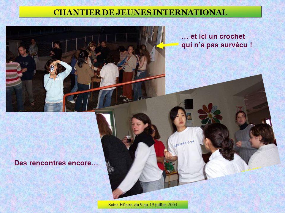 Saint-Hilaire du 9 au 19 juillet 2004 CHANTIER DE JEUNES INTERNATIONAL A Saint-Hilaire sur 10 jours de chantier, il ny a eu que 4 jours de travail, jo