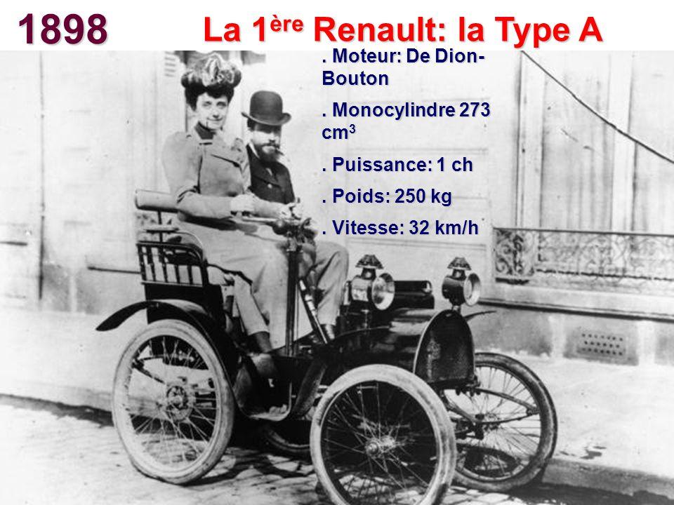1898 La 1 ère Renault: la Type A. Moteur: De Dion- Bouton. Monocylindre 273 cm 3. Puissance: 1 ch. Poids: 250 kg. Vitesse: 32 km/h