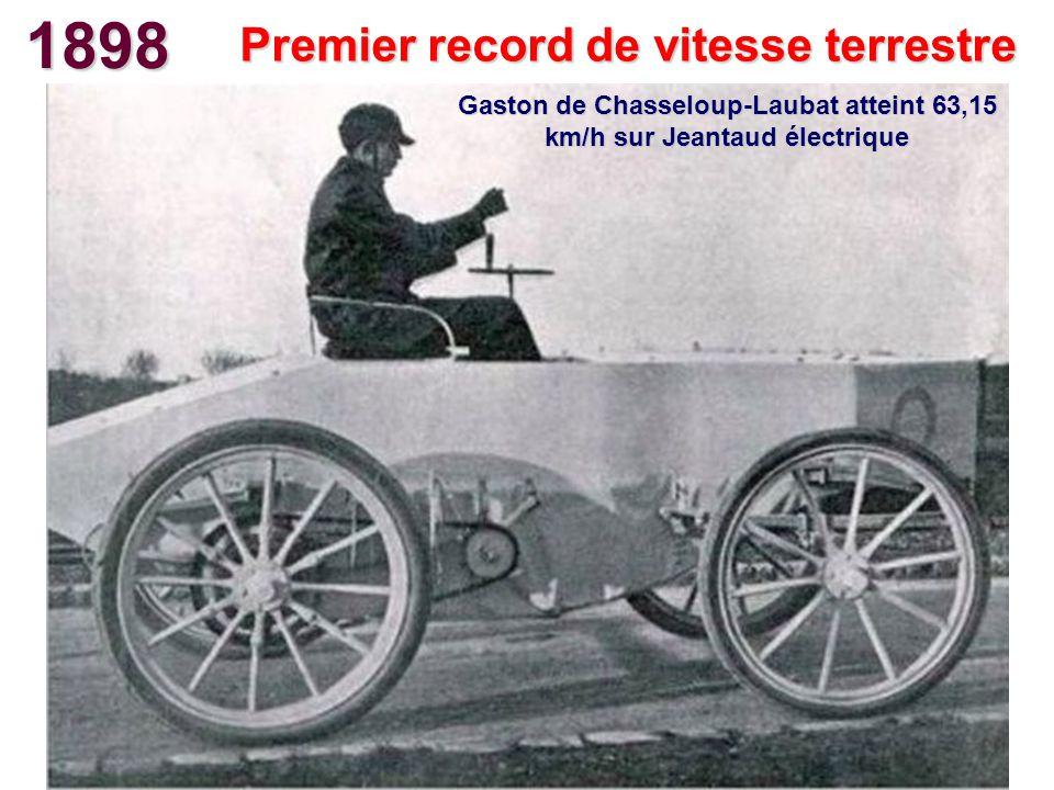 1898 Premier record de vitesse terrestre Gaston de Chasseloup-Laubat atteint 63,15 km/h sur Jeantaud électrique