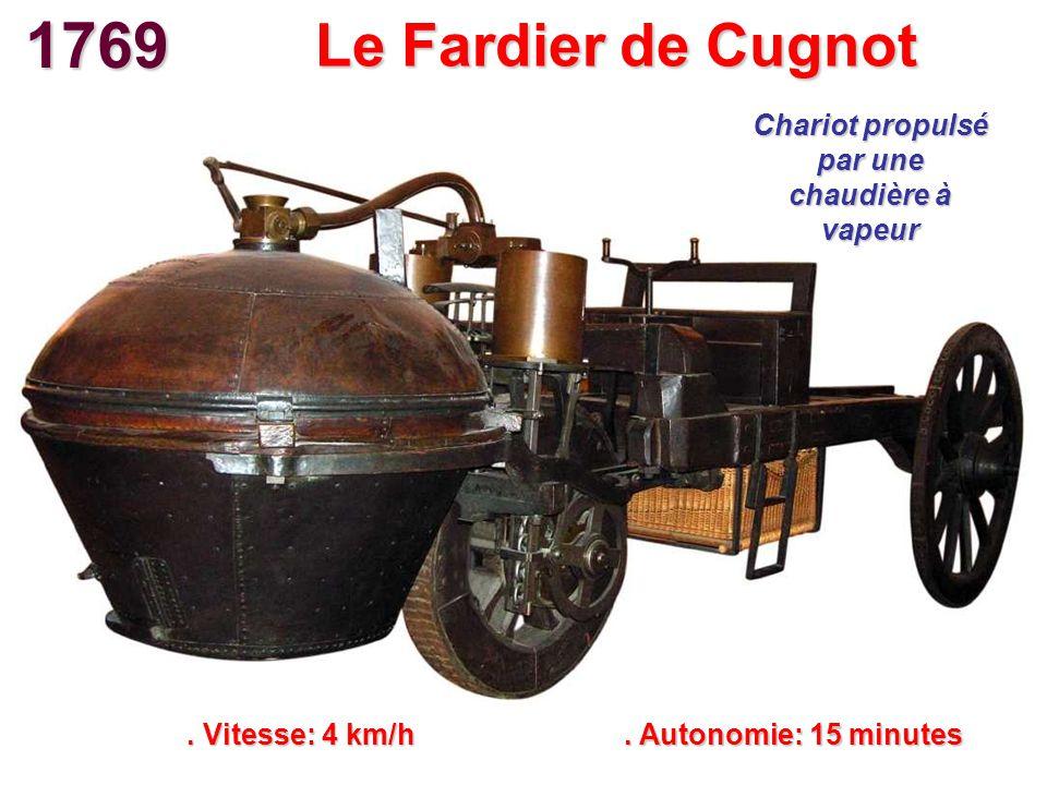 Le Fardier de Cugnot. Vitesse: 4 km/h. Autonomie: 15 minutes Chariot propulsé par une chaudière à vapeur 1769