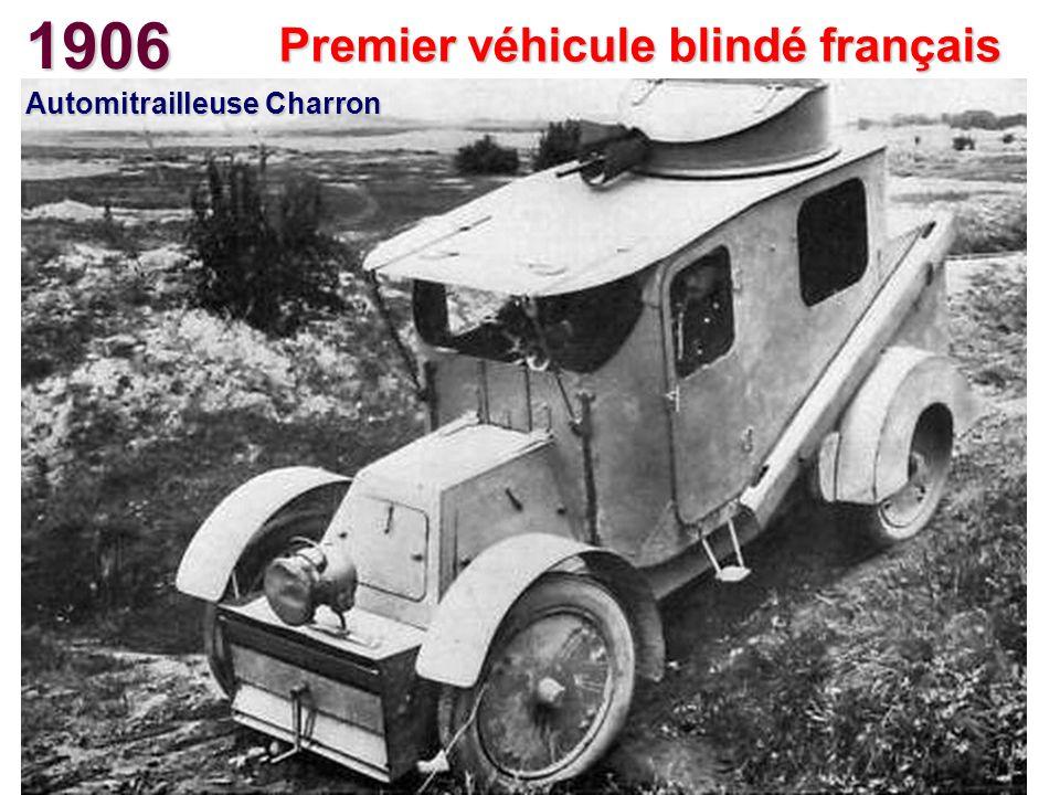 1906 Premier véhicule blindé français Automitrailleuse Charron