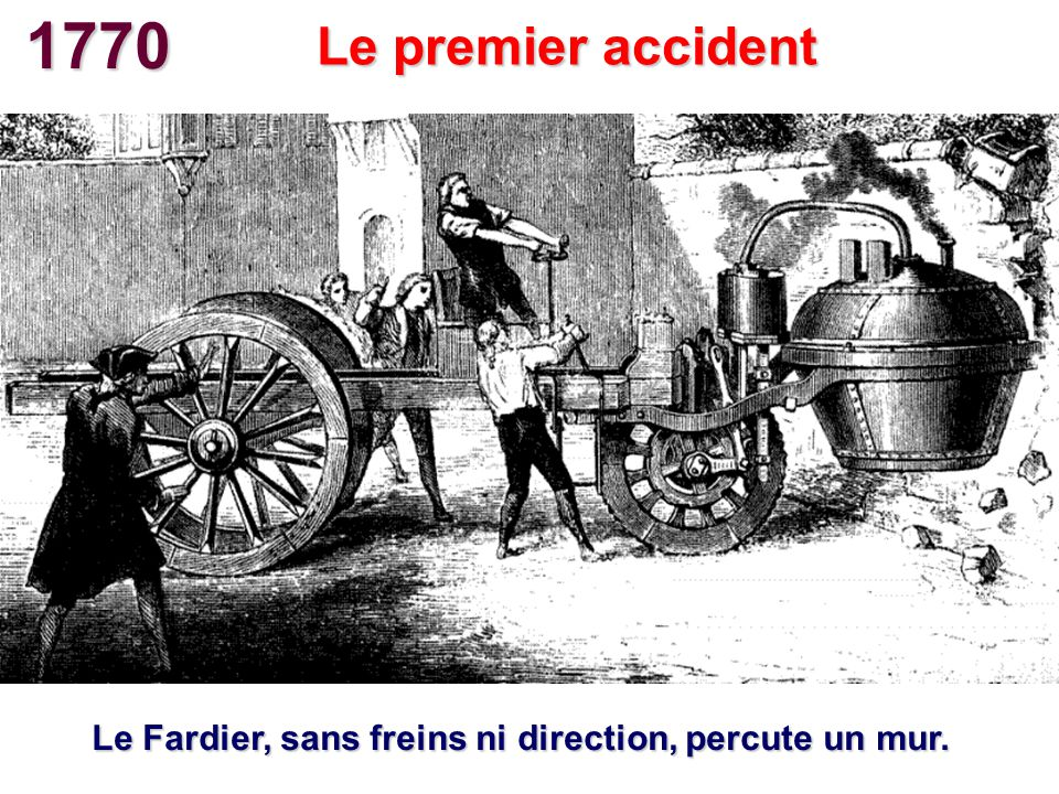 1770 Le premier accident Le Fardier, sans freins ni direction, percute un mur.