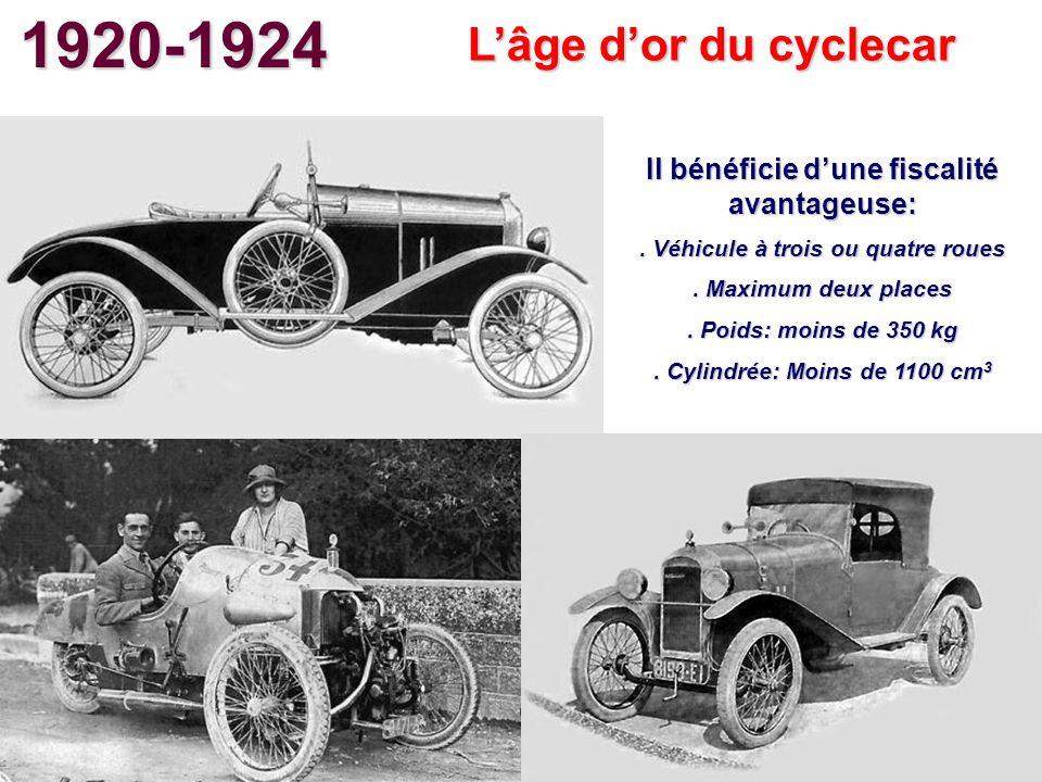 1920-1924 Lâge dor du cyclecar Il bénéficie dune fiscalité avantageuse:. Véhicule à trois ou quatre roues. Maximum deux places. Poids: moins de 350 kg