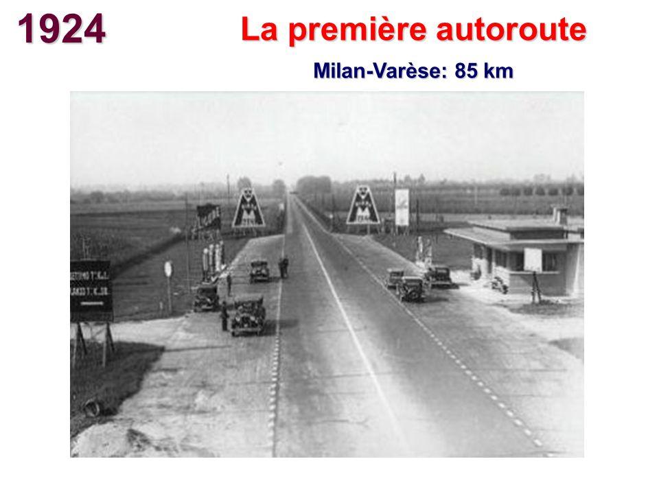 1924 La première autoroute Milan-Varèse: 85 km