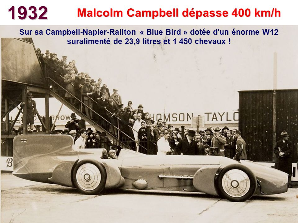 1932 Malcolm Campbell dépasse 400 km/h Sur sa Campbell-Napier-Railton « Blue Bird » dotée d'un énorme W12 suralimenté de 23,9 litres et 1 450 chevaux