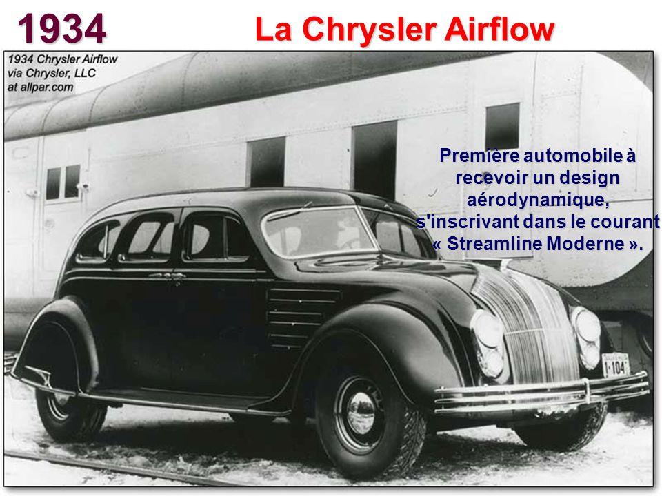 1934 La Chrysler Airflow Première automobile à recevoir un design aérodynamique, s'inscrivant dans le courant « Streamline Moderne ».