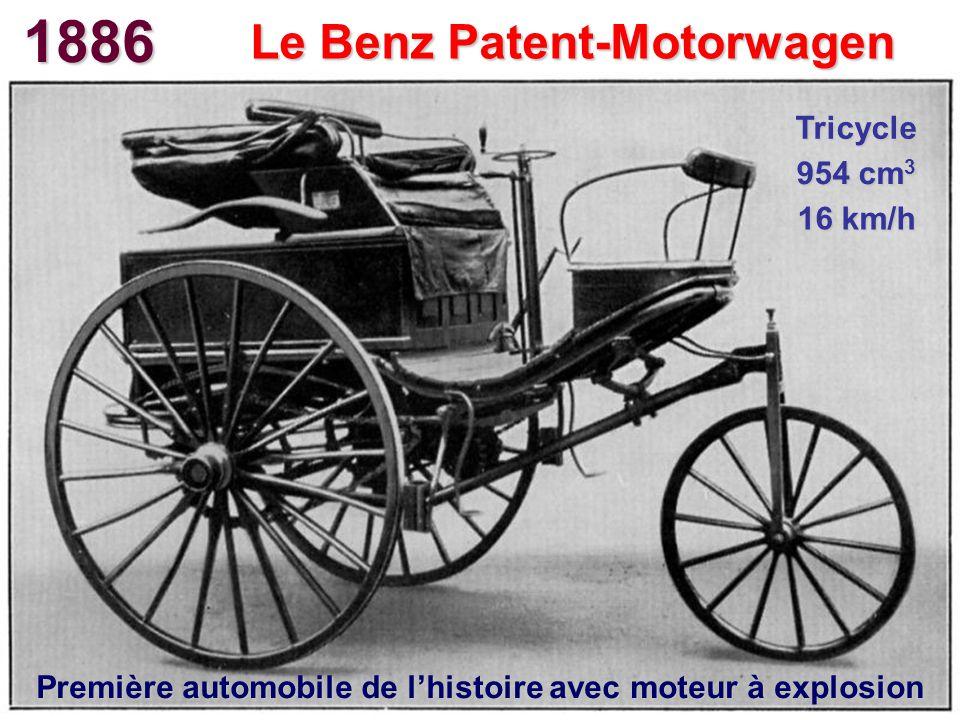 1886 Le Benz Patent-Motorwagen Première automobile de lhistoire avec moteur à explosion Tricycle 954 cm 3 16 km/h