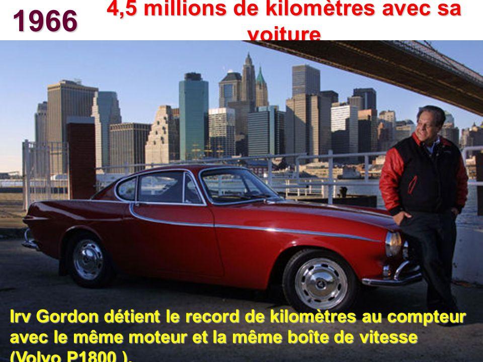 1966 4,5 millions de kilomètres avec sa voiture Irv Gordon détient le record de kilomètres au compteur avec le même moteur et la même boîte de vitesse