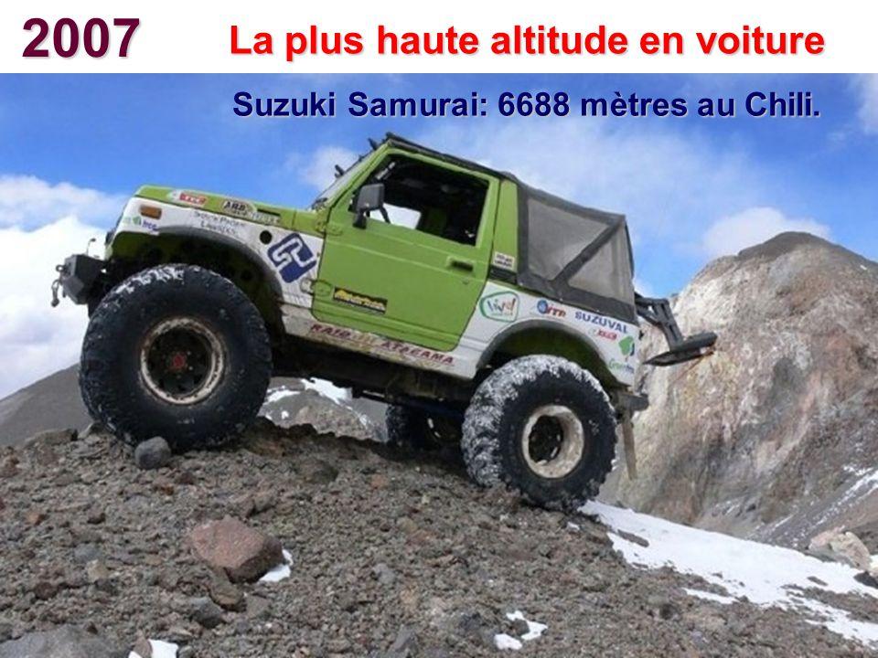 2007 La plus haute altitude en voiture Suzuki Samurai: 6688 mètres au Chili.