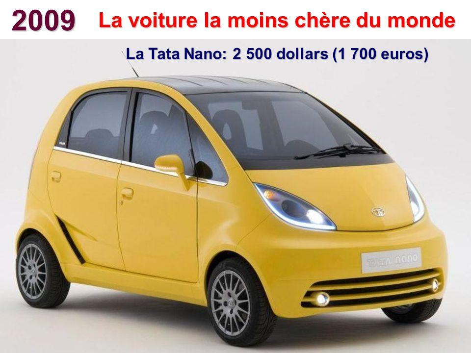 2009 La voiture la moins chère du monde La Tata Nano: 2 500 dollars (1 700 euros)