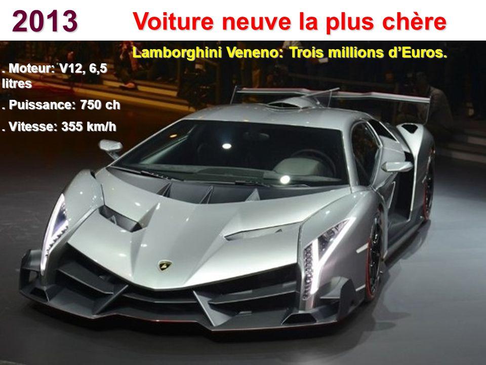 2013 Voiture neuve la plus chère. Moteur: V12, 6,5 litres. Puissance: 750 ch. Vitesse: 355 km/h Lamborghini Veneno: Trois millions dEuros.