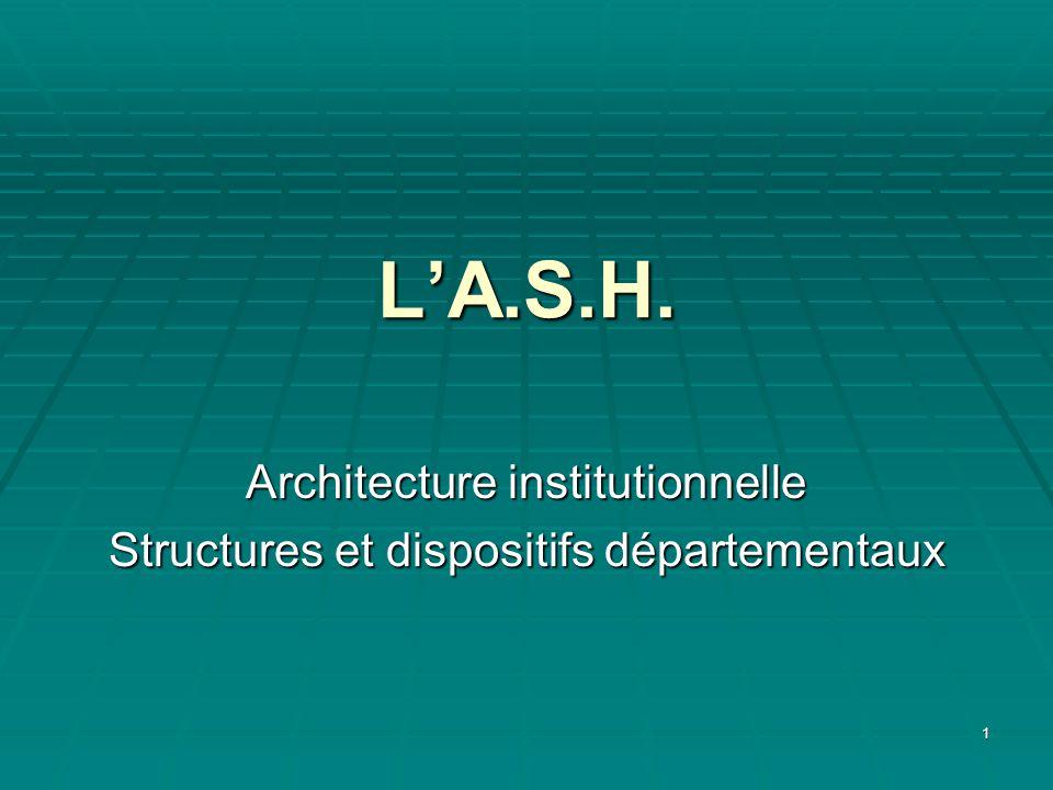 1 LA.S.H. Architecture institutionnelle Structures et dispositifs départementaux