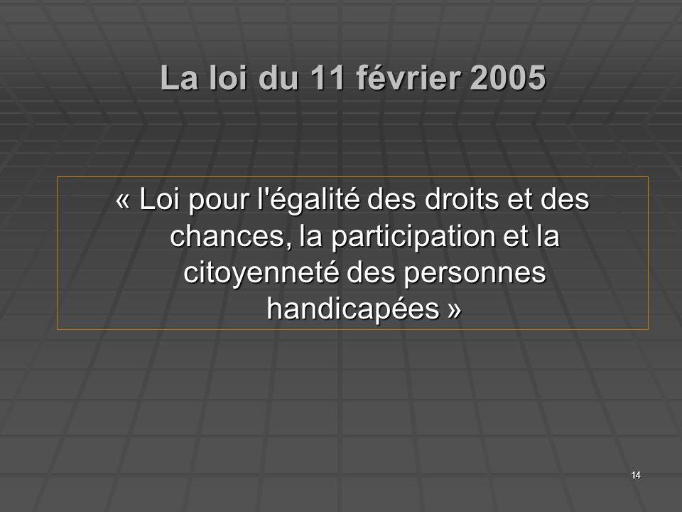14 La loi du 11 février 2005 « Loi pour l'égalité des droits et des chances, la participation et la citoyenneté des personnes handicapées »