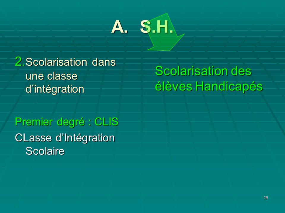 19 A. S.H. Scolarisation des élèves Handicapés 2.Scolarisation dans une classe dintégration Premier degré : CLIS CLasse dIntégration Scolaire