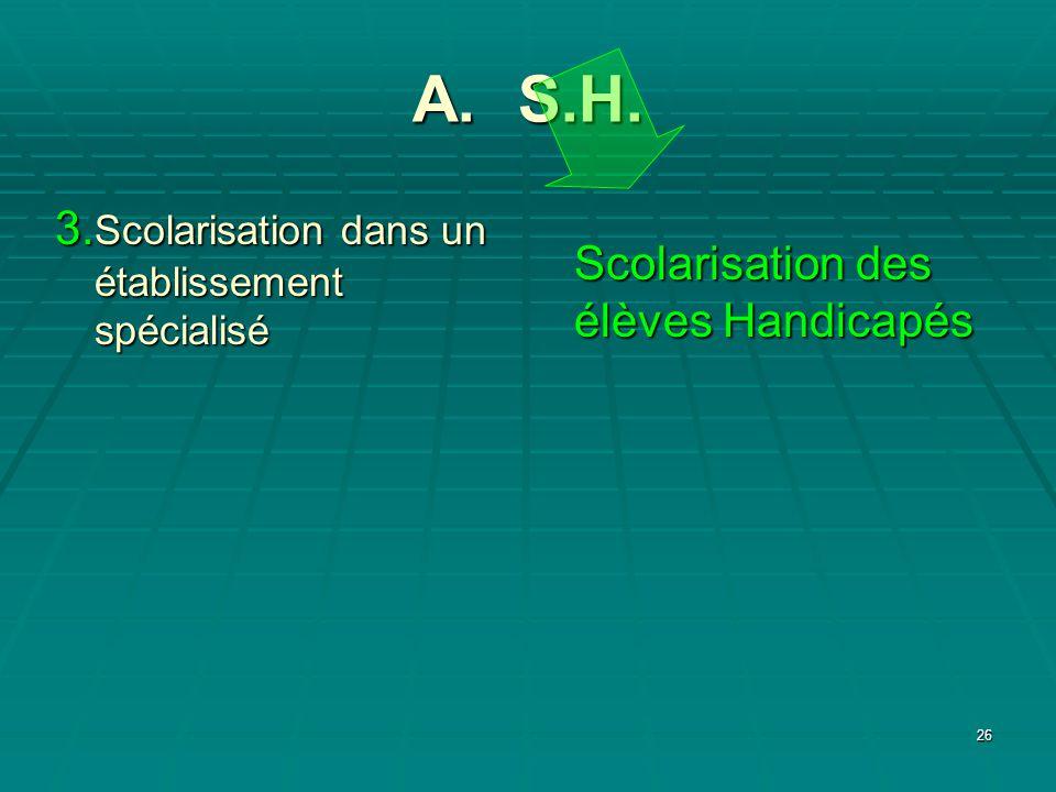 26 A. S.H. Scolarisation des élèves Handicapés 3. Scolarisation dans un établissement spécialisé