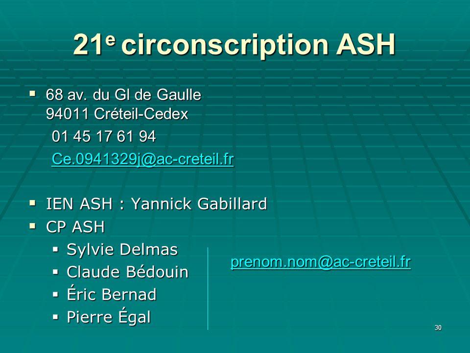 30 21 e circonscription ASH 68 av. du Gl de Gaulle 94011 Créteil-Cedex 68 av. du Gl de Gaulle 94011 Créteil-Cedex 01 45 17 61 94 Ce.0941329j@ac-cretei