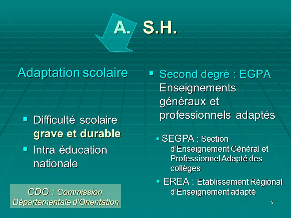 10 A. S.H. Adaptation scolaire Second degré : EGPA Second degré : EGPA