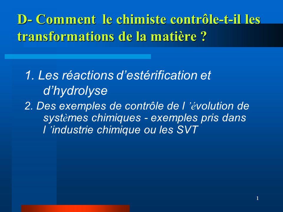 1 D- Comment le chimiste contrôle-t-il les transformations de la matière ? 1. Les réactions destérification et dhydrolyse 2. Des exemples de contrôle