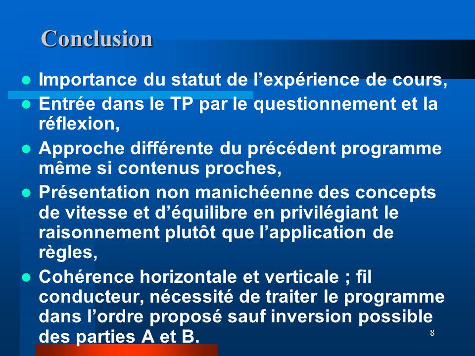 8 Conclusion Importance du statut de lexpérience de cours, Entrée dans le TP par le questionnement et la réflexion, Approche différente du précédent p