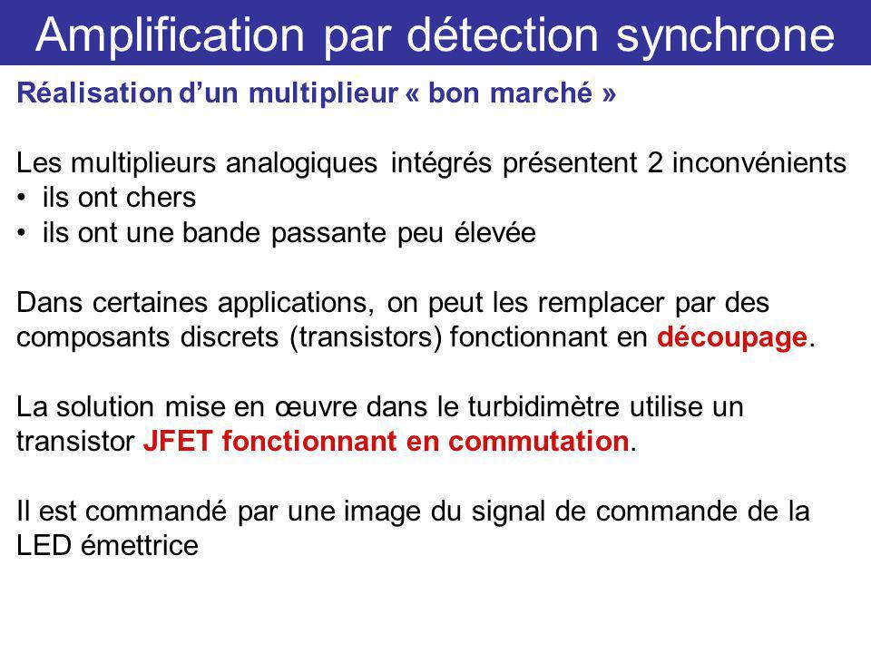 Amplification par détection synchrone Réalisation dun multiplieur « bon marché » Les multiplieurs analogiques intégrés présentent 2 inconvénients ils ont chers ils ont une bande passante peu élevée Dans certaines applications, on peut les remplacer par des composants discrets (transistors) fonctionnant en découpage.