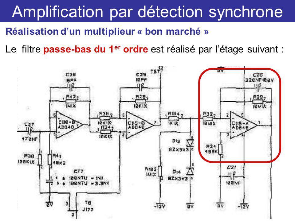 Amplification par détection synchrone Réalisation dun multiplieur « bon marché » Le filtre passe-bas du 1 er ordre est réalisé par létage suivant :