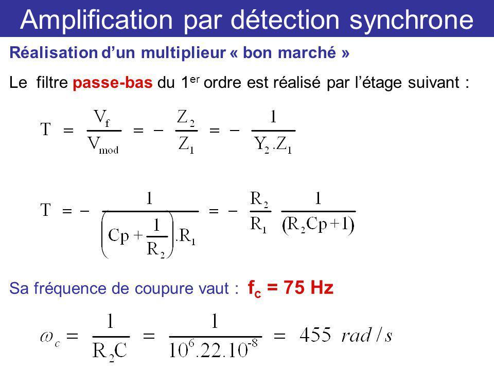 Amplification par détection synchrone Réalisation dun multiplieur « bon marché » Le filtre passe-bas du 1 er ordre est réalisé par létage suivant : Sa fréquence de coupure vaut : f c = 75 Hz