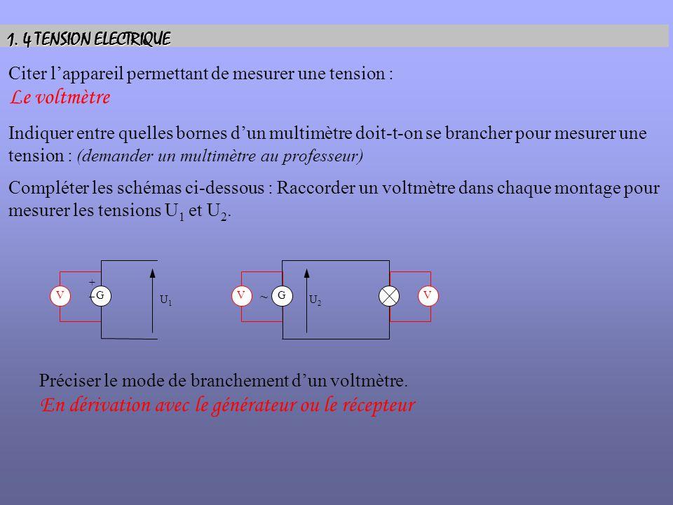 1. 4 TENSION ELECTRIQUE Citer lappareil permettant de mesurer une tension : Le voltmètre Indiquer entre quelles bornes dun multimètre doit-t-on se bra
