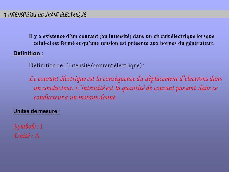 3 INTENSITE DU COURANT ELECTRIQUE Il y a existence dun courant (ou intensité) dans un circuit électrique lorsque celui-ci est fermé et quune tension e