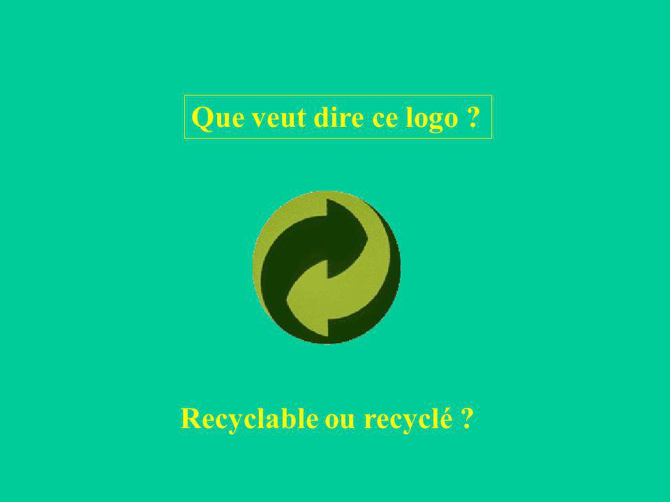 Que veut dire ce logo ? Recyclable ou recyclé ?