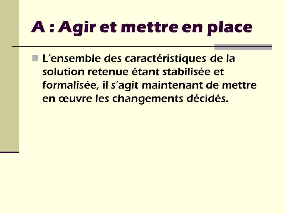 Lensemble des caractéristiques de la solution retenue étant stabilisée et formalisée, il sagit maintenant de mettre en œuvre les changements décidés.