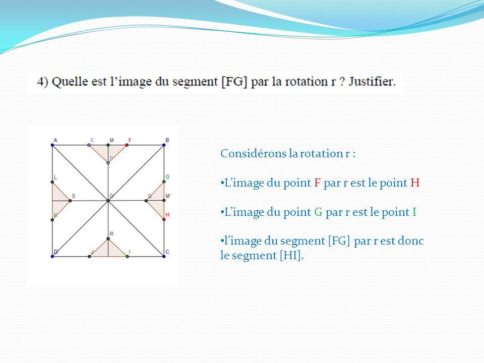 Considérons la rotation r : Limage du point F par r est le point H Limage du point G par r est le point I limage du segment [FG] par r est donc le segment [HI].