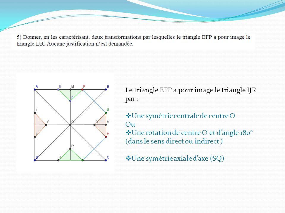 Le triangle EFP a pour image le triangle IJR par : Une symétrie centrale de centre O Ou Une rotation de centre O et dangle 180° (dans le sens direct ou indirect ) Une symétrie axiale daxe (SQ)