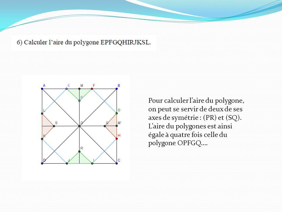Pour calculer laire du polygone, on peut se servir de deux de ses axes de symétrie : (PR) et (SQ).