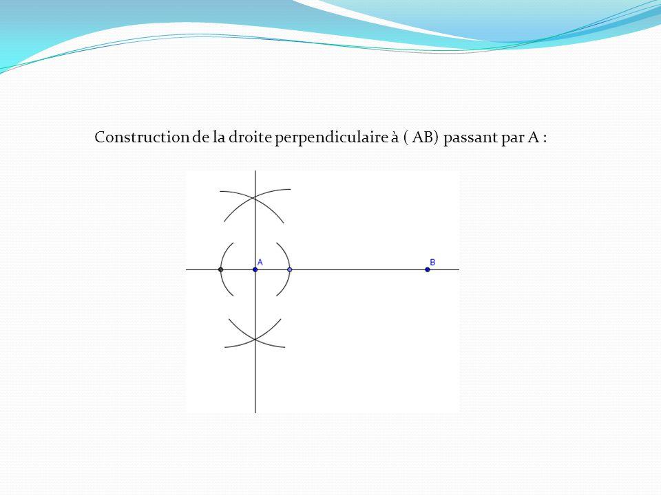 Construction de la droite perpendiculaire à ( AB) passant par A :