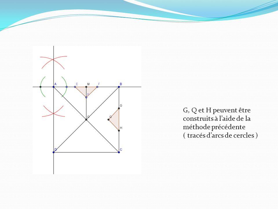 G, Q et H peuvent être construits à laide de la méthode précédente ( tracés darcs de cercles )