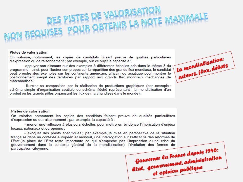 La mondialisation: acteurs, flux, débats Gouverner la France depuis 1946: Etat, gouvernement, administration et opinion publique Gouverner la France d
