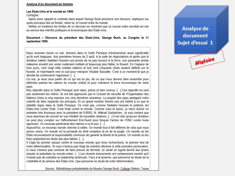 Analyse de document Sujet dessai 1 Analyse de document Sujet dessai 1 Histoire Histoire