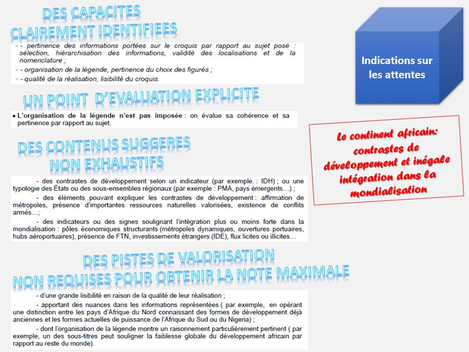 Indications sur les attentes Indications sur les attentes Le continent africain: contrastes de développement et inégale intégration dans la mondialisa