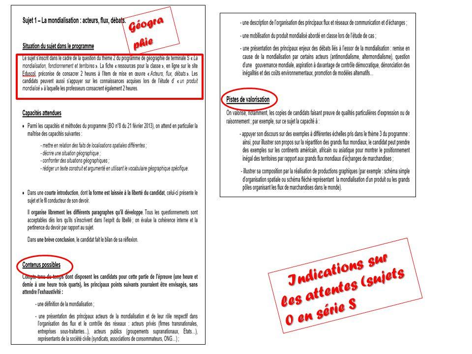 Indications sur les attentes (sujets 0 en série S Indications sur les attentes (sujets 0 en série S Géogra phie