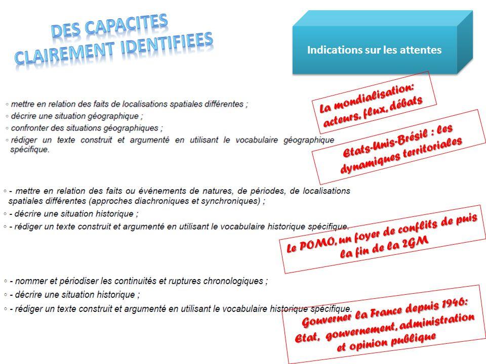 Indications sur les attentes Le POMO, un foyer de conflits de puis la fin de la 2GM Gouverner la France depuis 1946: Etat, gouvernement, administratio