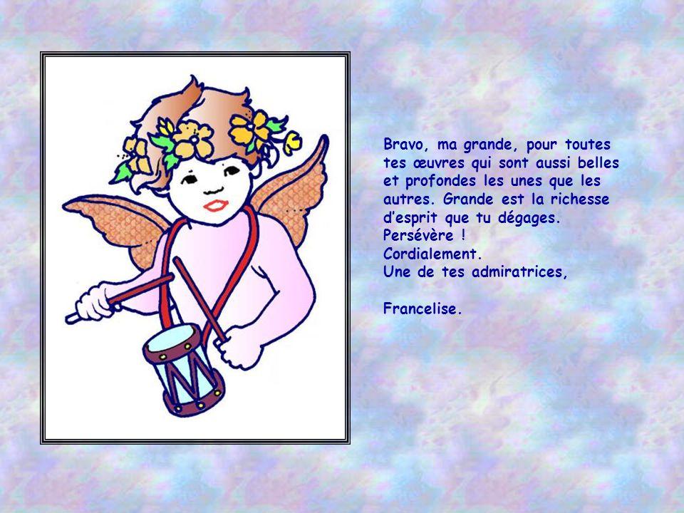 Aurélie est une elfe, elle est une enfant-fée, Un ange que pour nous Dieu envoya sur terre. Radieuse et moqueuse, sérieuse ou enjouée, Et profonde pou