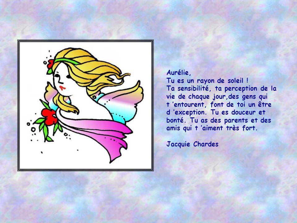 Aurélie est un ange descendu du ciel, qui nous apporte la Bonne Nouvelle de Dieu .