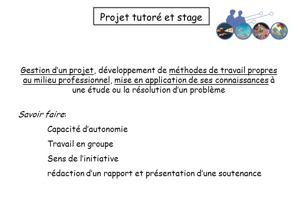 Projet tutoré et stage Gestion dun projet, développement de méthodes de travail propres au milieu professionnel, mise en application de ses connaissan