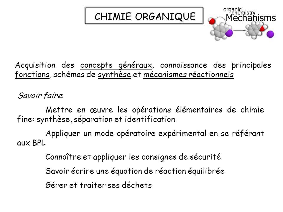CHIMIE ORGANIQUE Acquisition des concepts généraux, connaissance des principales fonctions, schémas de synthèse et mécanismes réactionnels Savoir fair