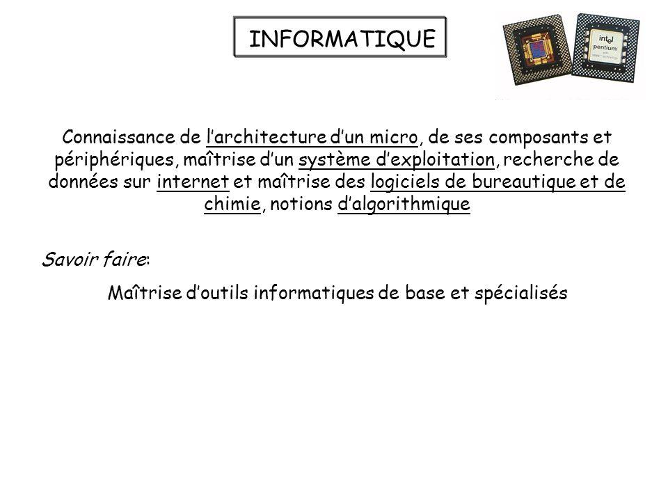 INFORMATIQUE Connaissance de larchitecture dun micro, de ses composants et périphériques, maîtrise dun système dexploitation, recherche de données sur