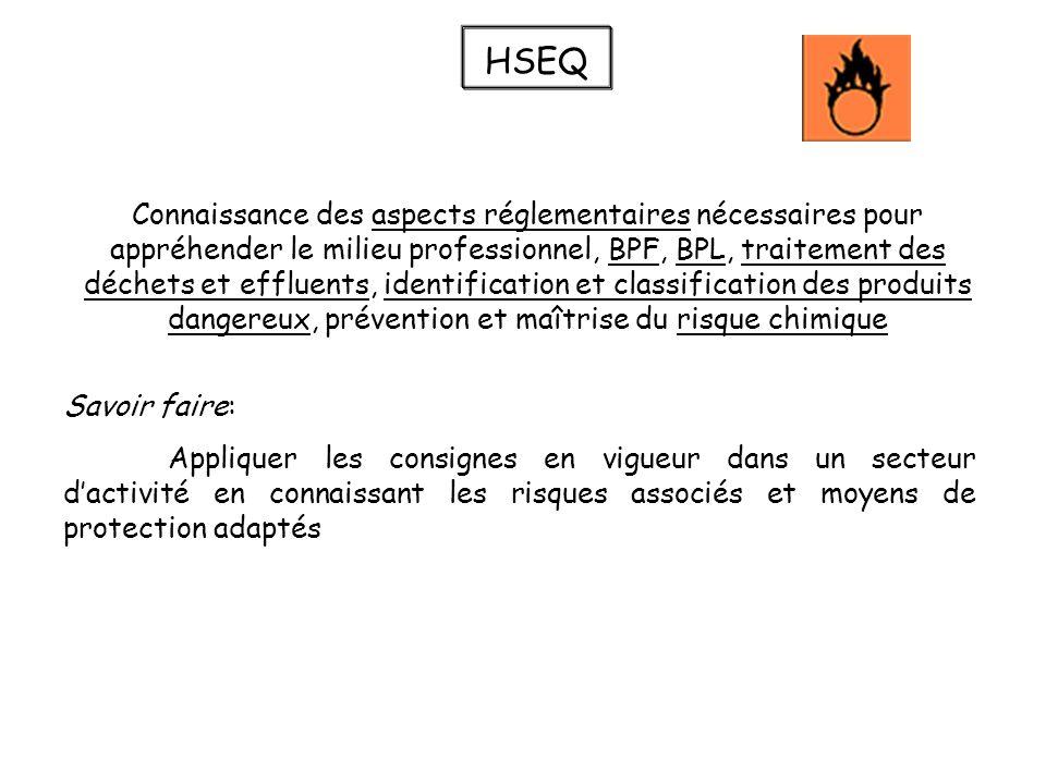 HSEQ Connaissance des aspects réglementaires nécessaires pour appréhender le milieu professionnel, BPF, BPL, traitement des déchets et effluents, iden