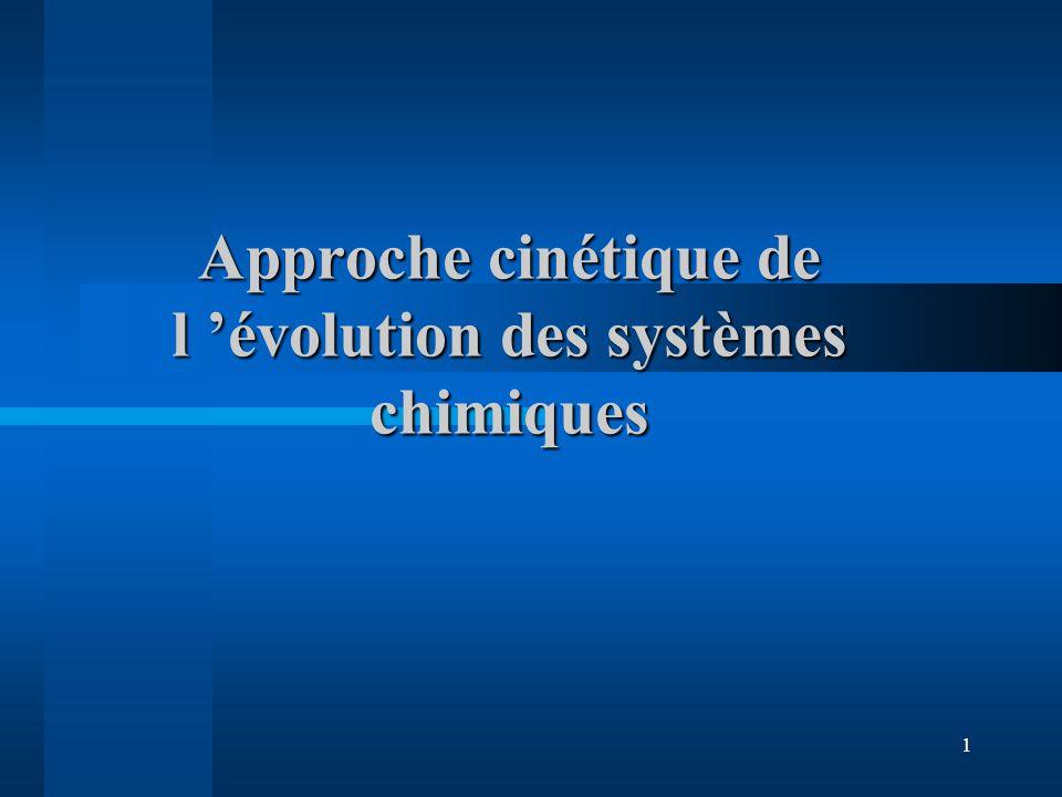 1 Approche cinétique de l évolution des systèmes chimiques